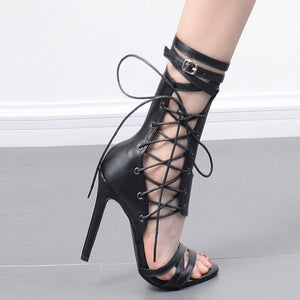 Stiletto Fish Mouth Hollow Cross Strap High Heel Straps Belt Buckle Sandals