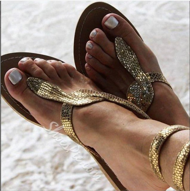 Explosion models  pin flat sandals snake pattern large size