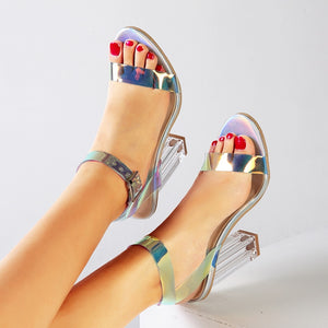 Perspex Transparent Chunky Heels Sandals Colorful PVC Strappy Sandals