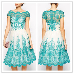 Embroidery Lace Official Slim Hips Short-Sleeve Dress