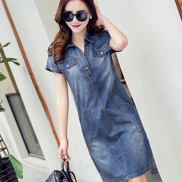 Denim Women Clothing Blue Jeans Shirt Office Loose Dress Vestido