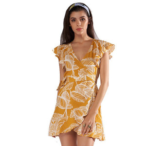 Sexy Mini Casual Vintage V-Neck Floral Elegant Boho Short Party Dresses Vestidos
