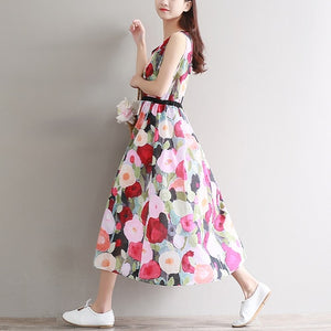 Cotton A Line Flower Print Dress Sleeveless Casual Ladies High Waist Dress