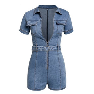 Denim Jumpsuit Short Bodycon Overalls