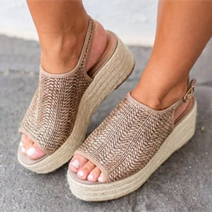 Weaving Espadrilles Platform Sandals