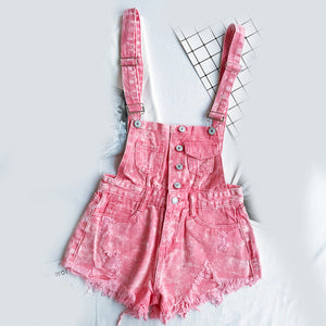 Denim Playsuits Cotton Strap Rompers Shorts Overalls