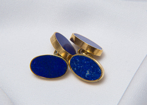 ISHKAR Lapis Lazuli Double Cufflinks in Gold