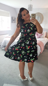 'Poppy' 50's Style Vintage Cherry Floral Print Dress