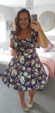 Claudia Flirty Fifties Swing Floral Dress