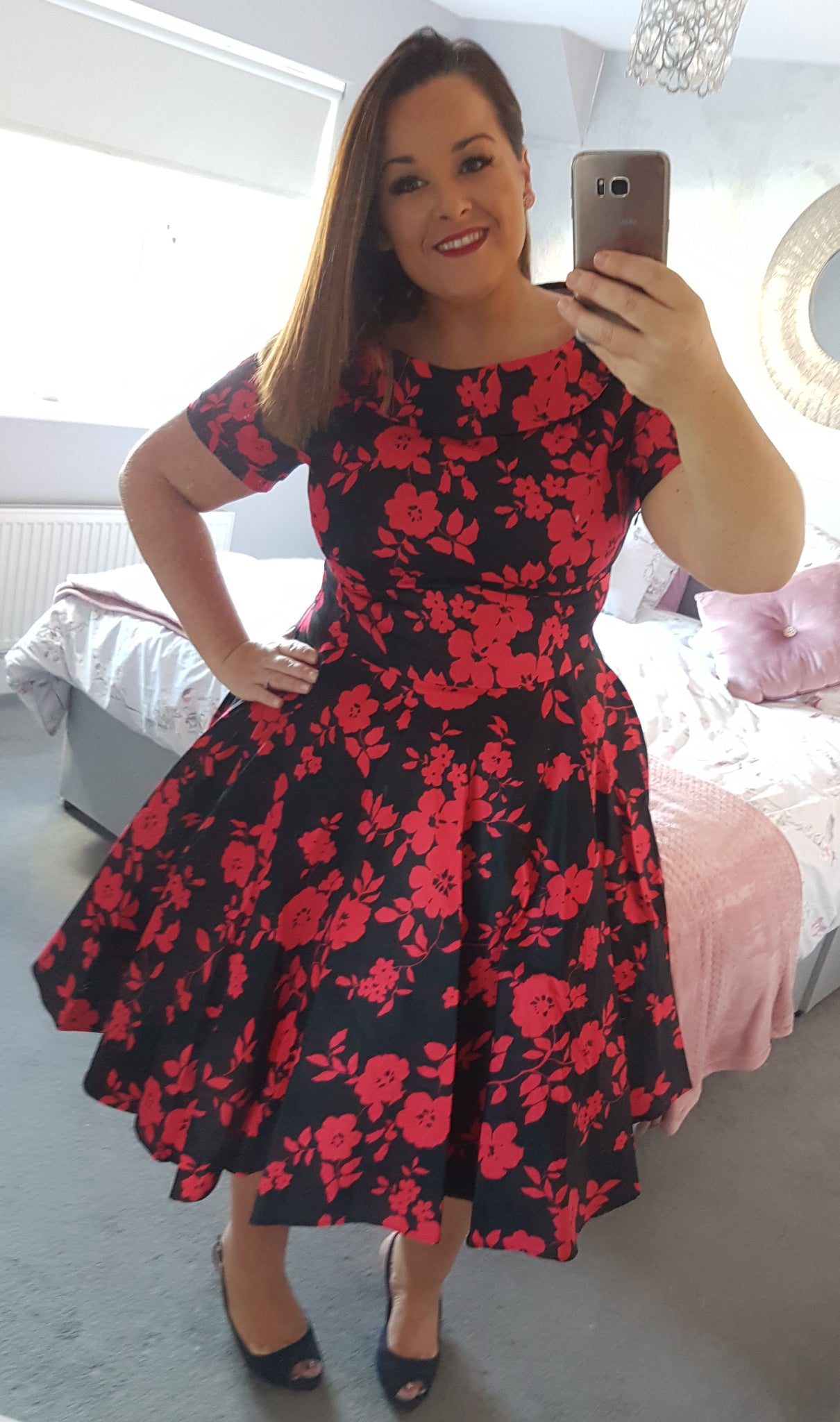 Darlene Retro Floral Swing Dress in Black/Red