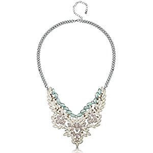 Silver Pastel Green, Cream & Gold Stone Jewelled Statement Necklace