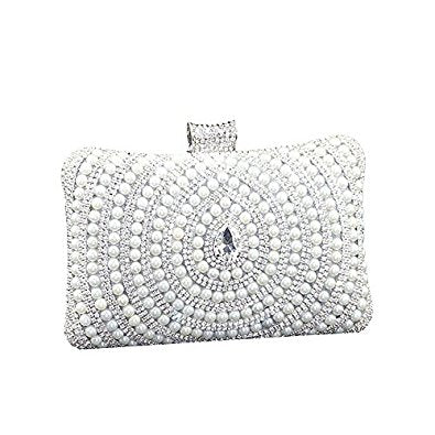 Elegant Pearl Beaded Rhinestone Clutch Bag