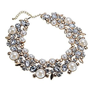 Glass Cluster Crystal Collar Choker Statement Necklace