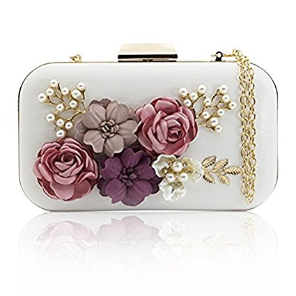 Vintage Inspired Floral Evening Clutch Bag