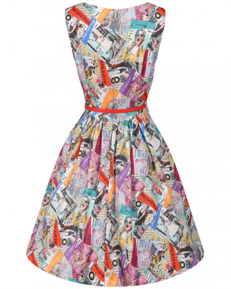 'Audrina' Vintage Magazine Print Swing Dress By Lindy Bop