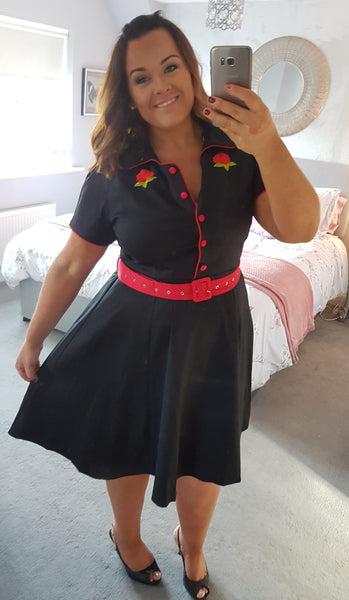 Sherry Rockabilly Diner Dress in Black