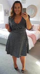 Katherine Long Sleeve 50's Style Swing Dress in Black Polka