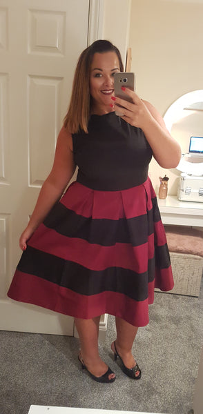 Anna Adorable Striped Swing Dress in Black/Red