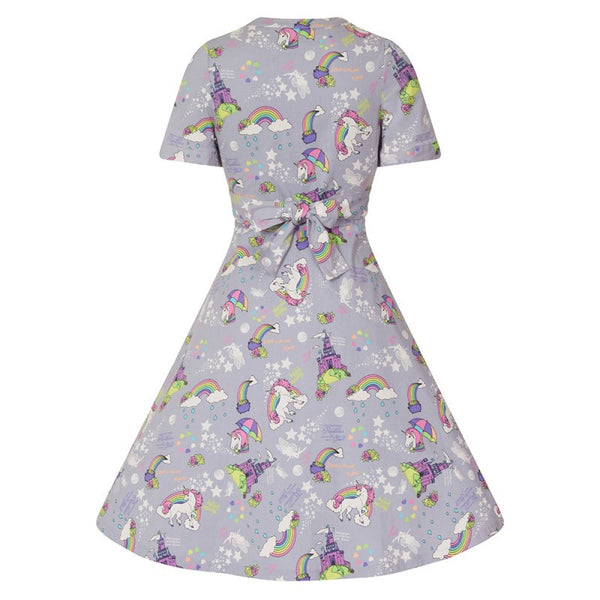 'Ionia' Grey Magic Unicorn Print Tea Dress by Lindy Bop
