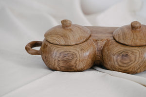 Wooden Salt & Pepper Bowl with Lids