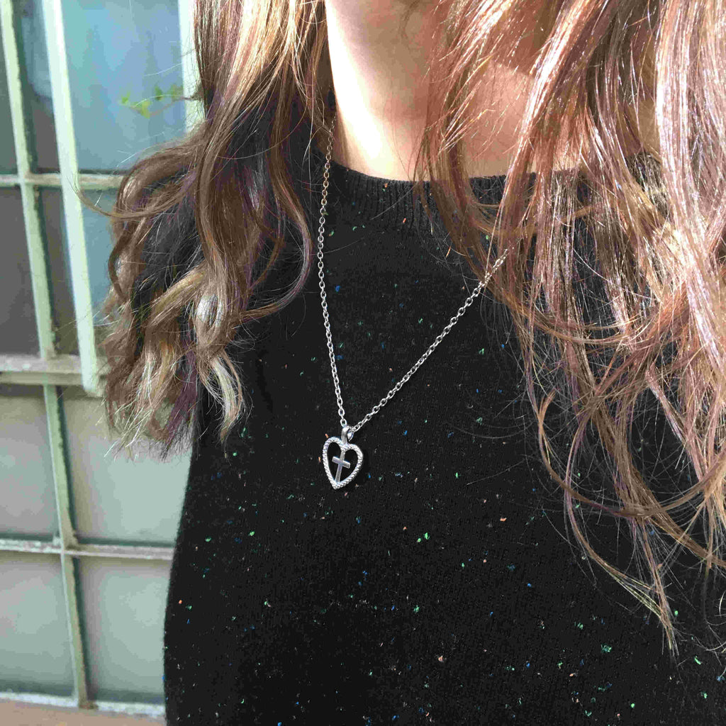 Zirconia Heart & Cross Necklace - Be Living