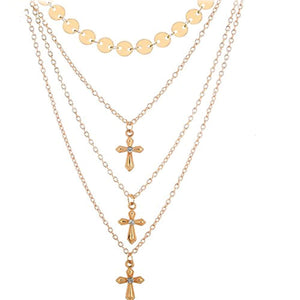 Multilayer Cross Necklace