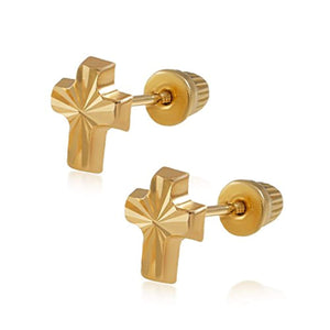 14k Gold Cross Stud Earrings - Be Living
