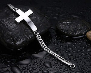 Silver Link Chain Cross Bracelet - Be Living