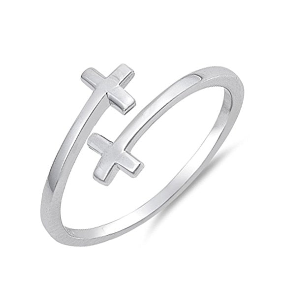 Two Crosses Warp Ring 925 Sterling SIlver - Be Living