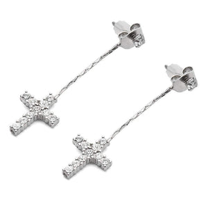 Crystal Cross Chain Earrings