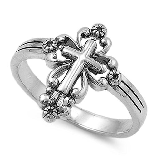 Vintage Victorian Cross Ring 925 Sterling Silver - Be Living