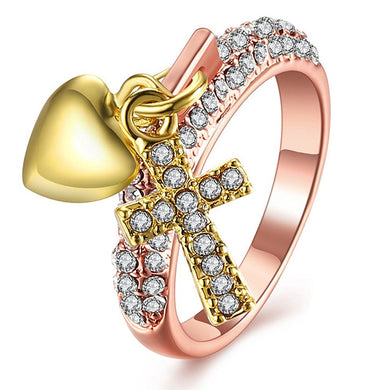 Heart & Cross Charm Ring - Be Living