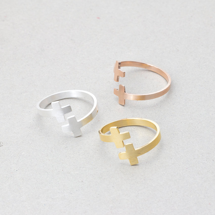 Two Crosses Ring 3-Colors Set - Be Living