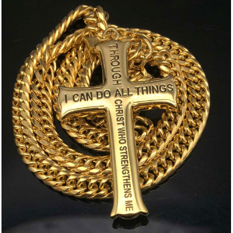 14k Gold Plated Philippians 4:13 Necklace
