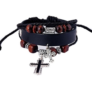 Cross Charm Bangle Leather Bracelet - Be Living