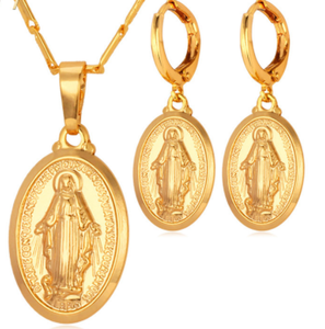 Virgin Mary Necklace & Earrings - Be Living
