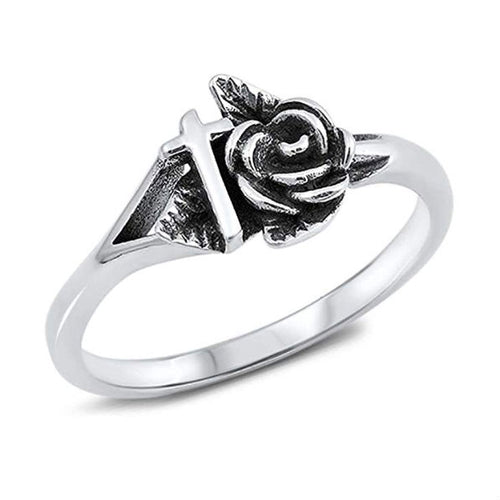 Rose and Cross Ring 925 Sterling Silver