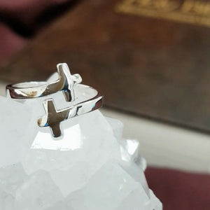 Two Crosses RIng 925 Sterling Silver - Be Living
