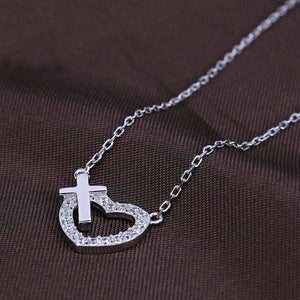 925 Sterling Heart and Cross Necklace - Be Living