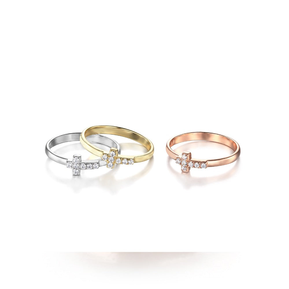 Stacking Cross Rings 925 Sterling Silver - Be Living