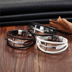 Silver Cross Bangle Bracelet - Be Living