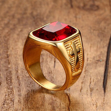 Exquisite Rhinestone Ruby Cross Ring - Be Living