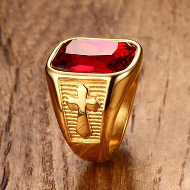 Red Ruby Cross Ring - Be Living