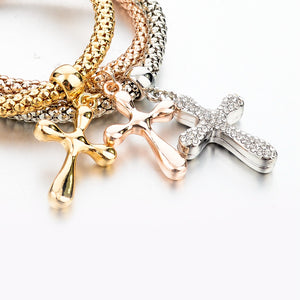 Stacking Cross Charms Bracelets Set - Be Living