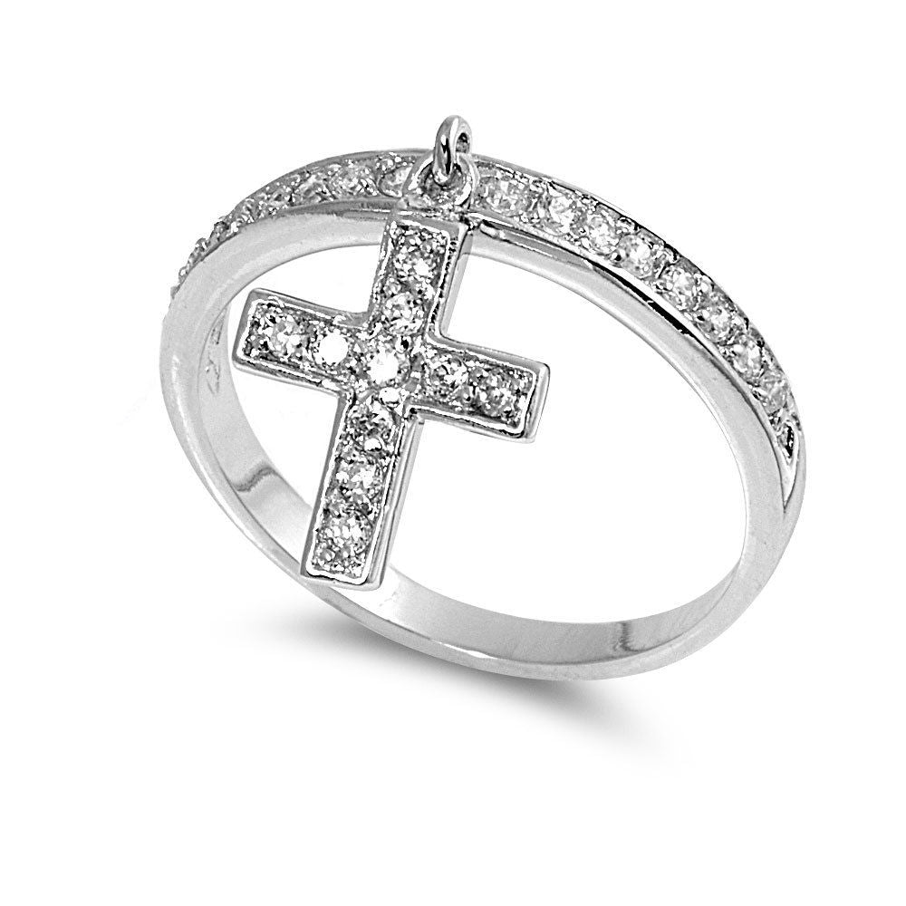 Cross Charm RIng 925 Sterling Silver