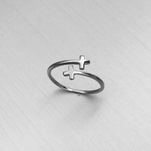 Two Crosses Warp Ring 925 Sterling SIlver