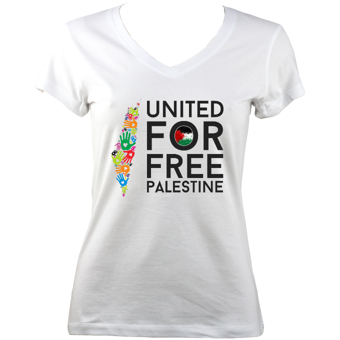 'United for Free Palestine' Women V-Neck T-shirt