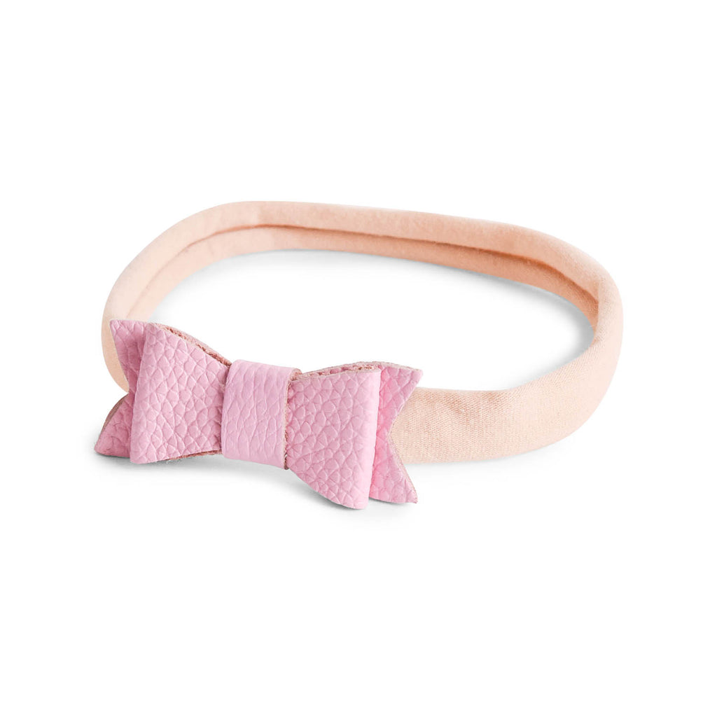 LEATHER BOW HEADBAND - PINK