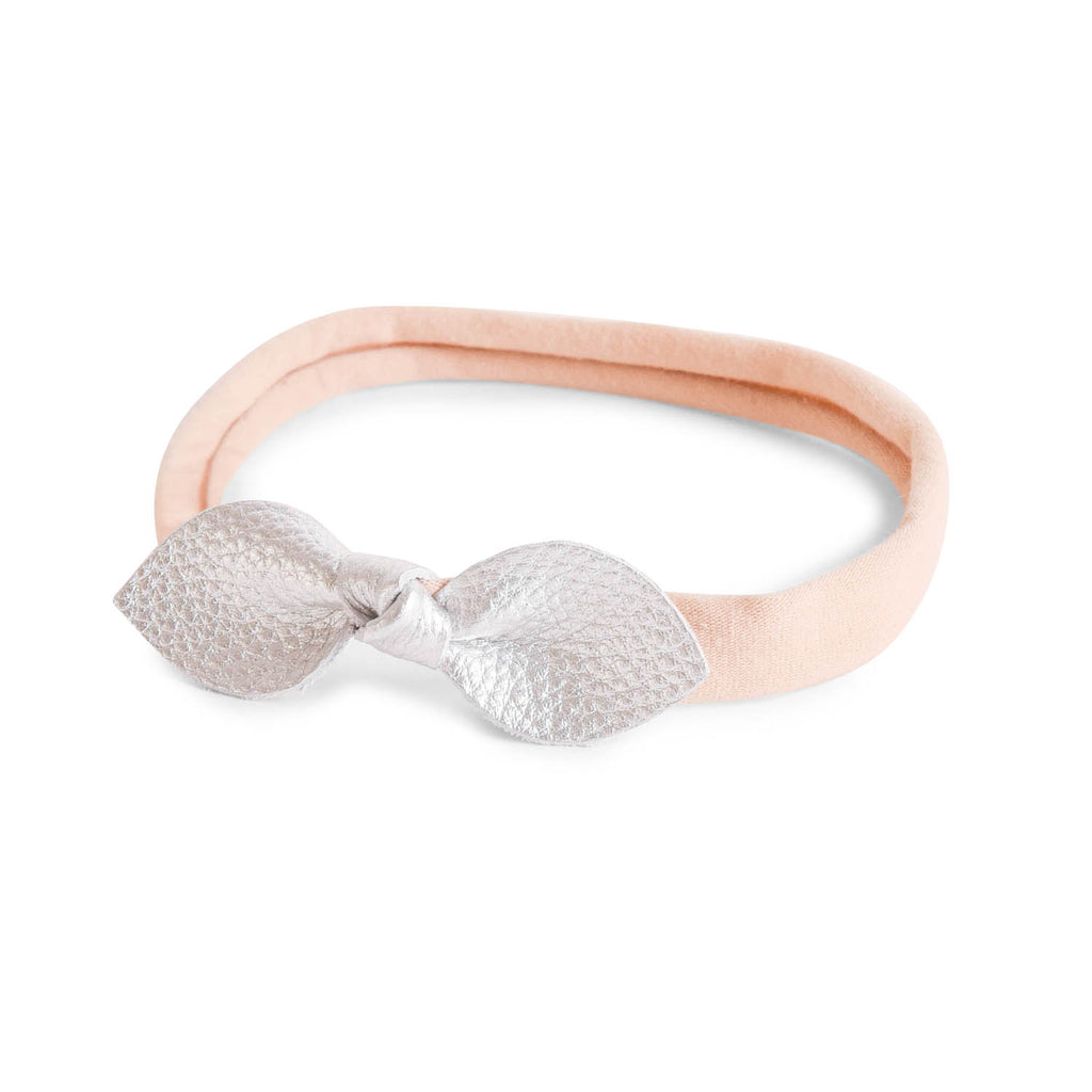 LEATHER SWEET BOW HEADBAND - SILVER