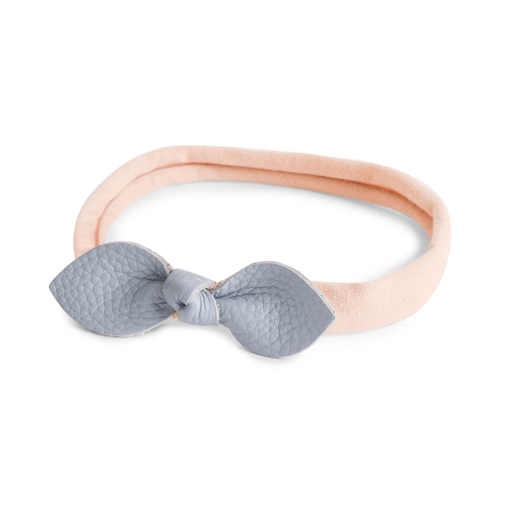 LEATHER SWEET BOW HEADBAND - BLUE